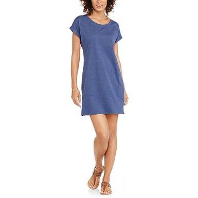 081b973b07b13 MIA KAYE Women's Easy Knit Slit Side T-Shirt Dress (M, Denim Heather ...