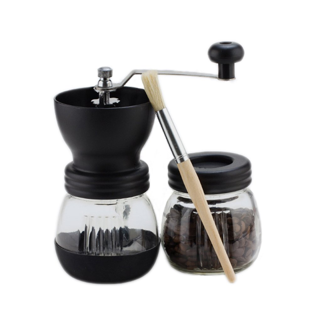 Narata Manual Ceramic Core Coffee Grinder with Extra Glass Sealed Cans & Hand Crank & Brush, Glass Body and Heavy Duty Steel Adjustable for Coarse to Fine Grind, Black by Narata