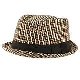 SK Hat shop Men's Winter Houndstooth Porkpie Derby Fedora Curled Brim Hat Brown BK S/M 56cm
