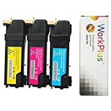 WorkPlus High Yield 3 Color Toners (106R01595, 106R01594, 106R01596 ) Compatible for Xerox Phaser 6500N, 6500DN, WorkCentre 6505N, 6505DN Printers (3 pack)