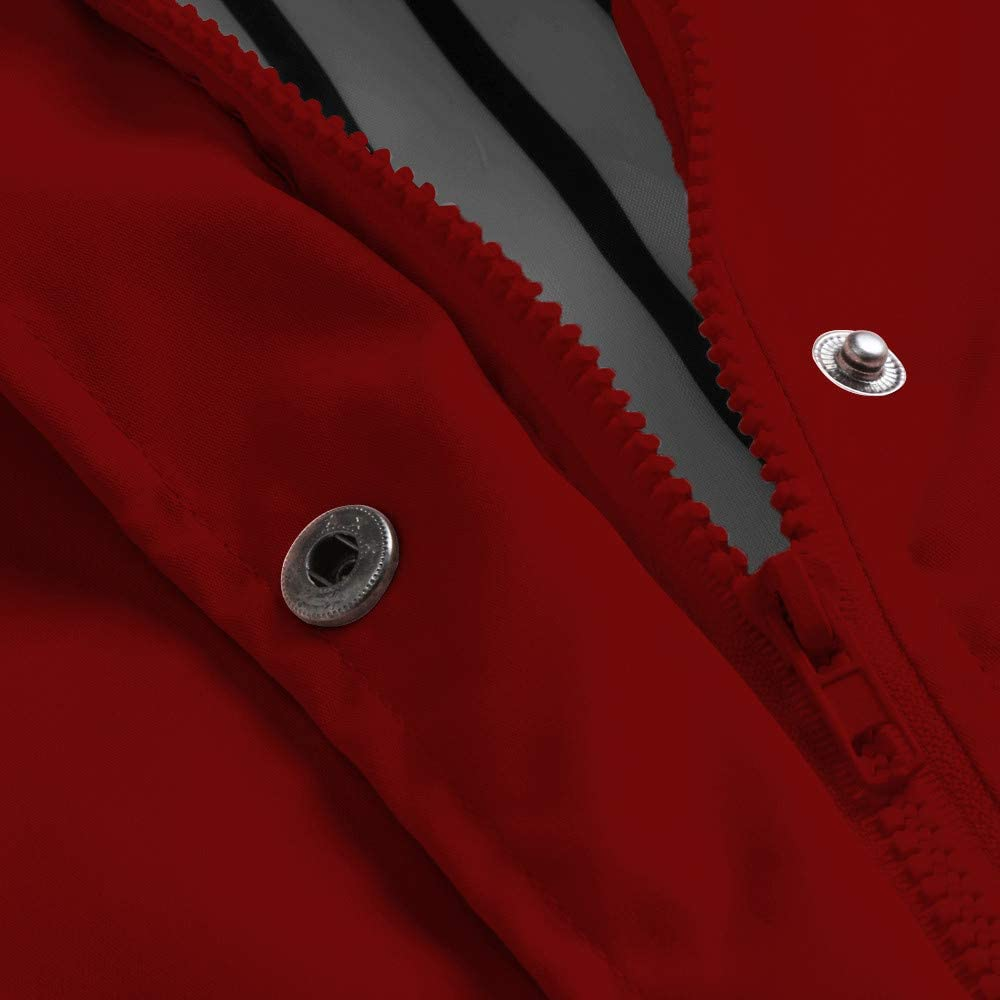 Womens Solid Rain Jacket Outdoor Plus Waterproof Hooded Raincoat Windproof Jacket