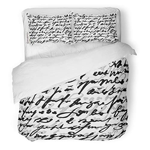 (Semtomn Decor Duvet Cover Set King Size Pattern Monochrome Text Letter Newspaper Script Abstract Black White 3 Piece Brushed Microfiber Fabric Print Bedding Set)
