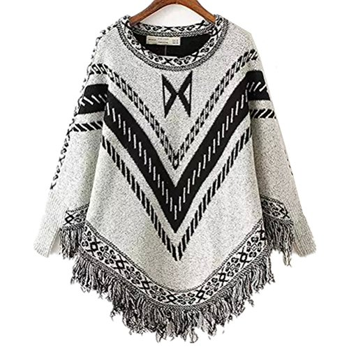 MoomTry Women's Fahion Cloak Round neck Tassel Loose Coats White One - Fair Fahion