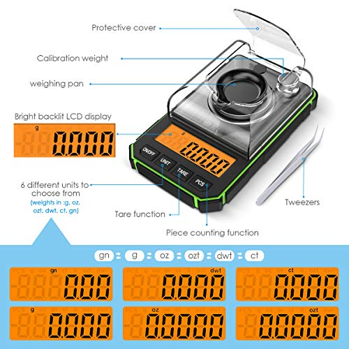 Brifit Digital Milligram Scale, 50g Portable Mini Scale, 0.001g Precise Graduation, Professional Pocket Scale with 50g Calibration Weights Tweezers (Batteries Included)