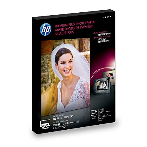 - HP Photo Paper Premium Plus, Glossy, (5x7 inch), 60 sheets