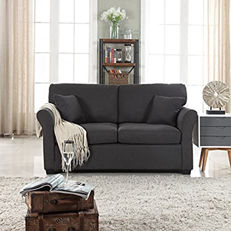 Classic And Traditional Ultra Comfortable Linen Fabric Loveseat Living Room Fabric Couch Dark Grey