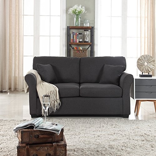 DIVANO ROMA FURNITURE Classic and Traditional Ultra Comfortable Linen Fabric Loveseat - Living Room Fabric Couch (Dark - Back Classic Sofa