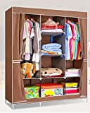 Evana -4.1 Feet Creative Coffee Brown Cabinet Easy Installation Folding Wardrobe Cupboard Almirah Foldable Storage Rack Collapsible Cloths Organizer (Color as available)