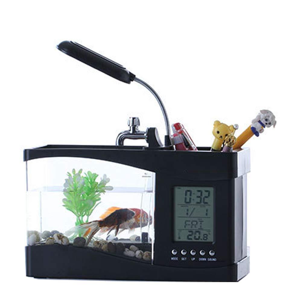 Black JiMany Mini Aquarium Desk Pen Holder Desktop Mini Aquarium Desk Aquarium with LED Lights Music Alarm Clock,Black