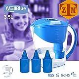 water alkaline ionizer - ALKALINE pH PLUS BLUE ionized Water PITCHER, 3.5 L By WellBlue, 3 Filters (6 Month Supply).