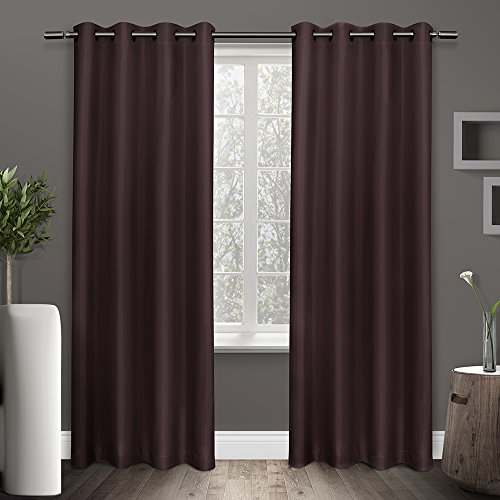 Exclusive Home Curtains Shantung Faux Silk Thermal Grommet Top Window Curtain Panel Pair, Plum,  ...