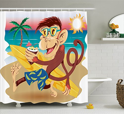 Animal Decor Shower Curtain Set By Ambesonne, Hipster Monkey With His Surfboard And Glasses Drinking On Sandy Beach In Sunny Day Kids Theme, Bathroom Accessories, 69W X 70L Inches, Multi (Drinking Glasses Pictures)