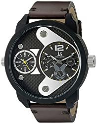Joshua & Sons Men's JX107BKBR Round Black and Rose Gold Dial Quartz Black Strap Watch