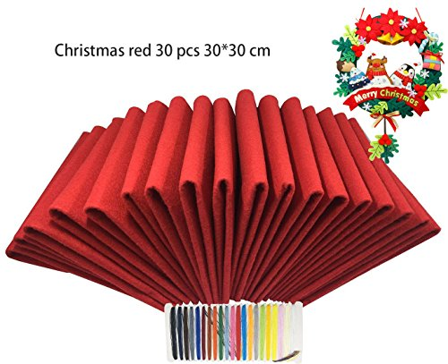 Levylisa 30pcs ( 12''x12'' ) Red Felt Sheets, Christmas Red Felt Fabric, Pure Red Felt Assortment, Large Felt Square,Christmas Ornaments, Stockings and Wreaths, Holiday Crafts, Red Felt Fat (Christmas Fabric Crafts)