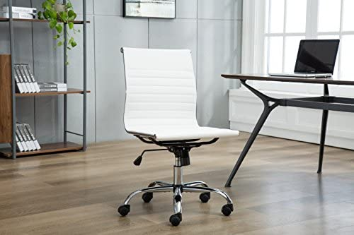 Porthos Home Karina Task Chair with Adjustable Height, 360 Swivel, Roller Caster Wheels and PU Leather Upholstery Armless Design, for Home Studios and Small Offices , One Size, White
