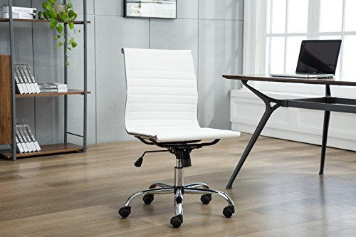 Porthos Home EFC019A WHT Karina Task Chair with Adjustable Height, 360° Swivel, Roller Caster Wheels and PU Leather Upholstery (Armless Design, for Home Studios and Small Offices), One Size White