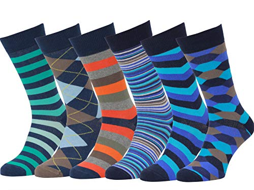 Easton Marlowe Men's Colorful Patterned Dress Socks - 6pk #17, neutral colors - 43-46 EU shoe size -