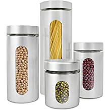 Estilo 4 Piece Brushed Stainless Steel and Glass Canisters with Window, Silver
