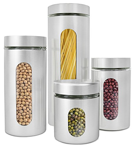 Estilo 4 Piece Brushed Stainless Steel and Glass Canisters with Window, Silver ()
