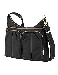 Travelon Anti-Theft Signature Twin Pocket Hobo Bag, Black, One Size