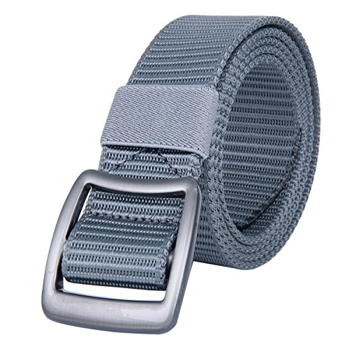 JINIU Men's Nylon Canvas Web Belt Military Style Casual Outdoor Army Tactical Webbing Buckle Belt Grey Color (JNSG13)