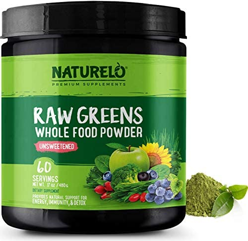 NATURELO Raw Greens Superfood Powder – Unsweetened – Boost Energy, Detox, Enhance Health – Organic Spirulina – Wheat Grass – Whole Food Vitamins from Fruit, Vegetable Extracts – 60 Servings