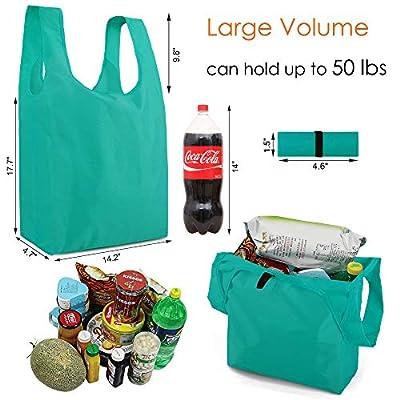 reusable grocery bags 10 pack zipper pocket ...