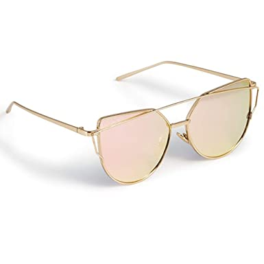 25b7330bca0 NEW ENERGY © NEW ROSE GOLD CAT EYE MIRRORED SUNGLASSES FREE CASE UK   Amazon.co.uk  Clothing