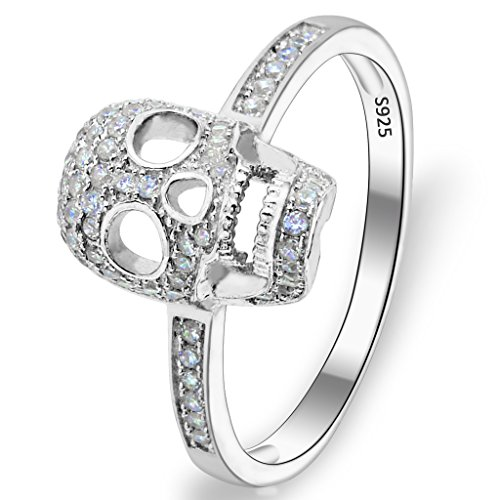(EVER FAITH Women's 925 Sterling Silver Zircon Gothic Skull Statement Party Ring Clear - Size 7)