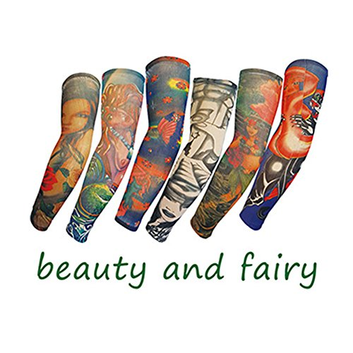 Efivs Arts Temporary Tattoo Sleeves Fake Tattoo Temporary Tattoo Arm Sleeve Stockings, Beauty and Fair 6pcs Set