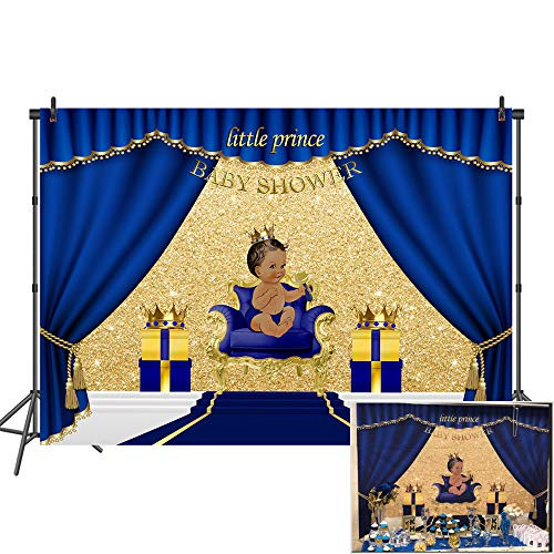 Mehofoto Royal Blue Baby Shower Backdrop Welcome Little Prince Photo Background 7x5ft Gifts and Gold Crown Backdrops for Baptism Christening Birthday ()