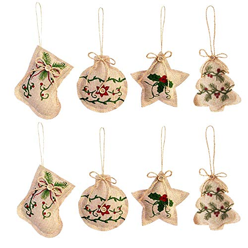Simple Rustic Burlap Jute Christmas Tree Ornaments Hangings Stockings Ball Star Home Arch Tableware Decoration Indoor Outdoor Christmas Ornament Tree Hangs (8 pcs Ornaments)