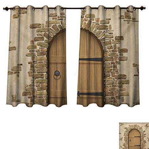 (RuppertTextile Rustic Blackout Thermal Backed Curtains for Living Room Wine Cellar Entrance Stone Arch Ancient Architecture European Building Customized Curtains Sand Brown Pale Brown W72 x L45 inch)