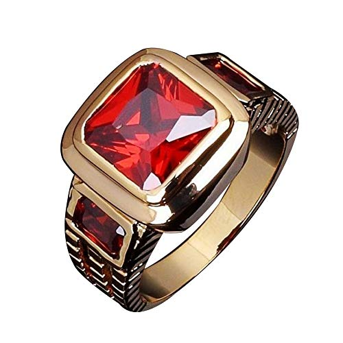 Himpokejg Men's Fashion Square Shape Faux Gemstone Wedding Birthday Band Jewelry Ring - Red US 12