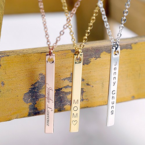 A Your Name Vertical Necklace 16K Gold Silver Rose Gold Bar Necklace - Dainty Handstamped or Computer Engraving name Personalized Initial Charms Necklace Bridesmaid Wedding Mother's day Gift