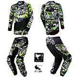 O'Neal Kids/Youth Element Attack Hi-Viz Motocross MX Off-Road Dirt Bike Jersey Pants Combo Riding Gear Set (Pants 12/14 (26) / Jersey Kids Large)