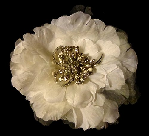Price comparison product image White and Sheer Large Bridal Hair Flower Clip and Pin