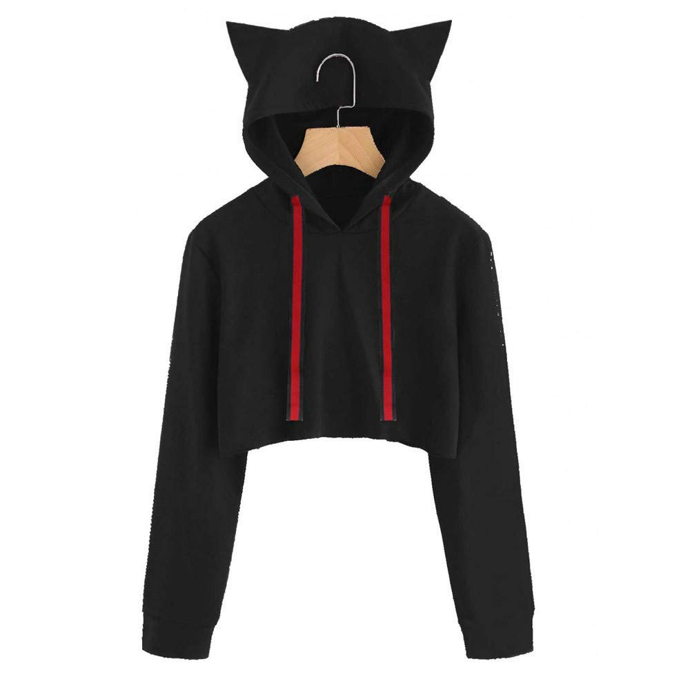 Amazon.com: Inkach Women Crop Top Hoodies Cat Ear Long Sleeve Drawstring Hooded Sweatshirt Pullover Blouse: Clothing
