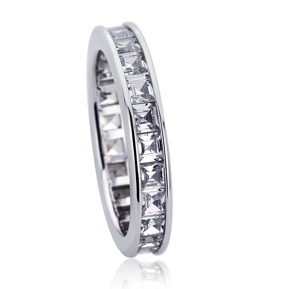 Double Accent Platinum Plated Sterling Silver 2ct Square CZ Channel Set Wedding Band Eternity Ring (Size 5 to 9), 6