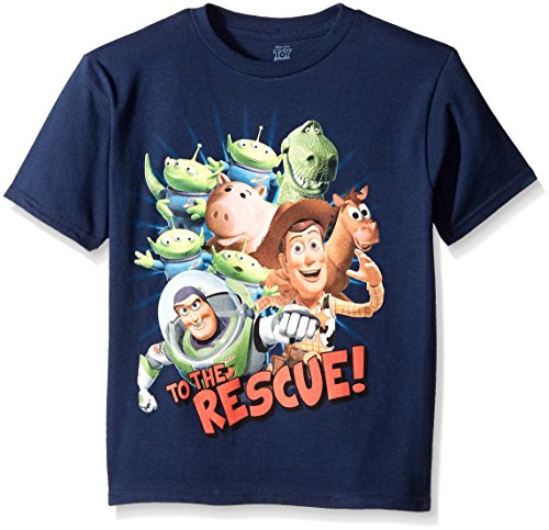 Disney Boys' Little Boys' Toy Story Action Heroes Short Sleeve T-Shirt, Navy, Small/4 (Toy Story Shirts)