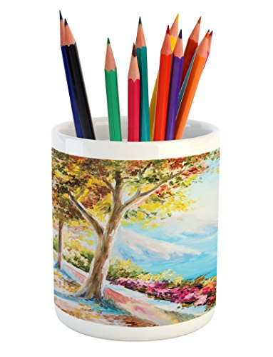 Pencil Pen Holder, Summer House Sea Mountain Terrace Trees and Flower Bed in Autumn, Printed Ceramic Pencil Pen Holder for Desk Office Accessory, Pale Blue Pink and Green ()