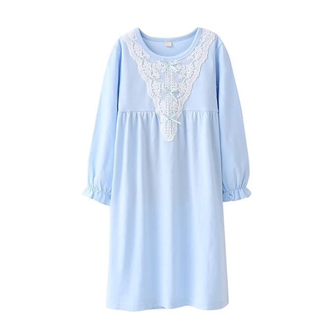 e65b3eef7a4d DGAGA Kids Girls Cotton Lace Nightgown Bowknot Sleepwear Solid Pajama  Nightshirt Blue 4-5 Years