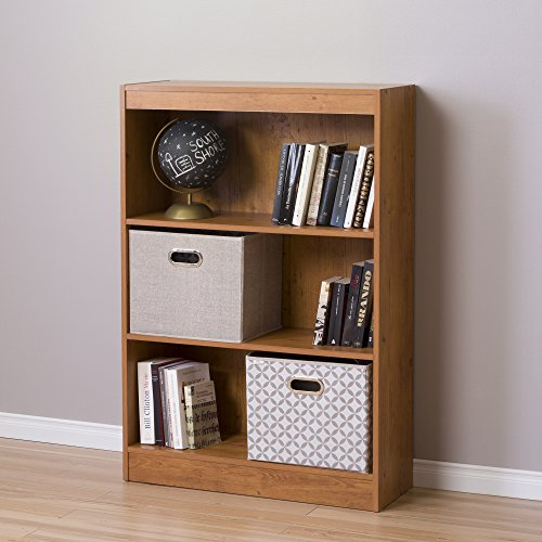 Rustic Pine Bookcase - South Shore 3-Shelf Storage Bookcase, Country Pine