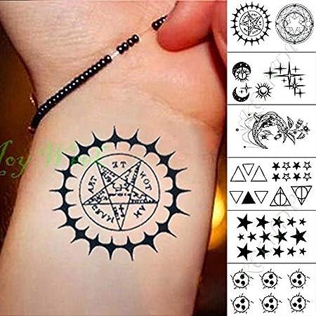 tzxdbh Impermeable Etiqueta del Tatuaje Temporal Estrella Luna Luz ...