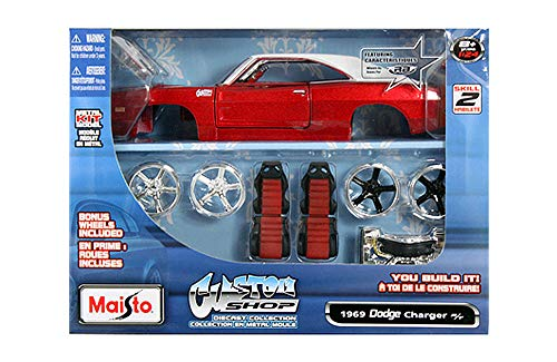 Die Kits Cast Model Car - HCK 1969 Dodge Charger R/T - Assembly Custom Model Kit Diecast Toy Cars 1:24 Scale