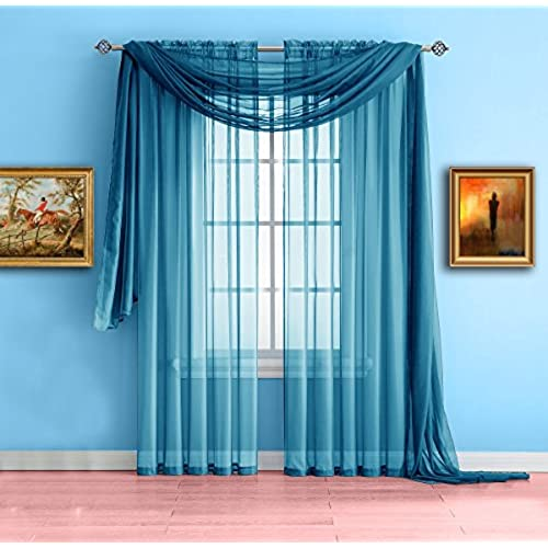 Warm Home Designs Pair Of Standard Length Turquoise Blue Sheer Window Curtains Each Voile Drape Is 56 X 84 Inches In Size Great For Kitchen Living