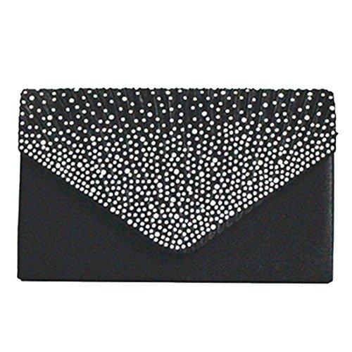 Envelope Elegant Clutch Bags Luxury Rhinestone for Bag Shoulder Women Cocktail Wedding Black Party Satin Evening YC0q1w