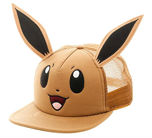 Pokemon Eevee Big Face Trucker Baseball Hat Brown ()