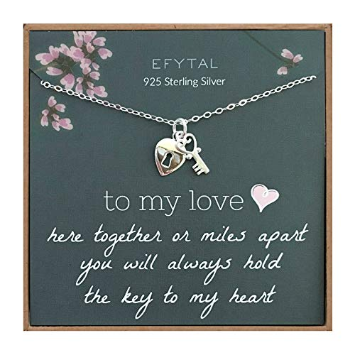 EFYTAL Anniversary Gift for Girlfriend / Wife, 925 Sterling Silver Heart & Key Necklace For Her, I Love You Jewelry Gifts for Women, Birthday Gift Ideas for Her, Long Distance Relationship