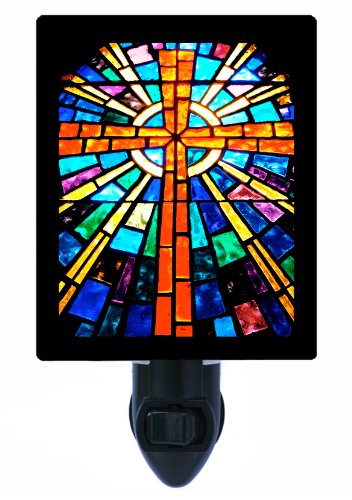 - Religious Night Light, Stained Glass Cross